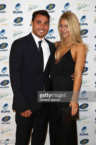Nick Phipps of the Wallabies and partner Ebony Bamford arrive at the 2016 John Eales Medal at Royal Randwick Racecourse on October 27 2016 in Sydney...
