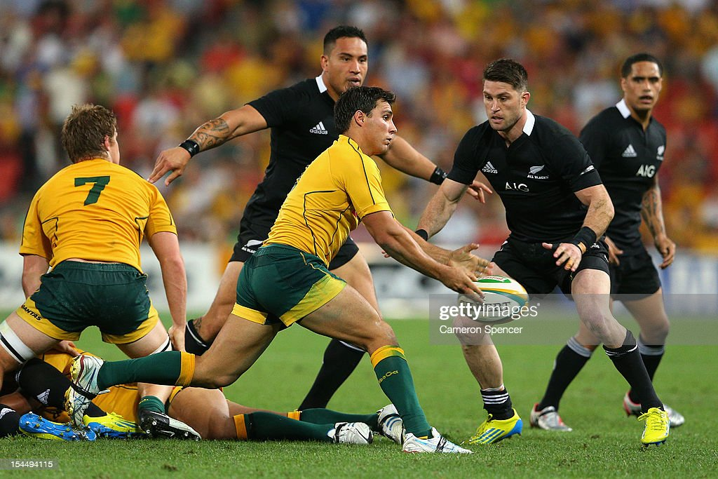 Nick Phipps of the Wallabies passes during the Bledisloe Cup match between the Australian Wallabies and the New Zealand All Blacks at Suncorp Stadium on October 20, 2012 in Brisbane, Australia.