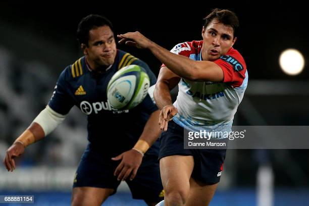 Nick Phipps of the Waratahs gets the ball away during the round 14 Super Rugby match between the Highlanders and the Waratahs at Forsyth Barr Stadium...