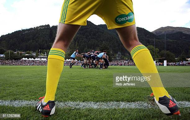Nick Phipps of the Waratahs makes a break during the Super Rugby trial match between the Highlanders and the Waratahs at the Queenstown Recreation...