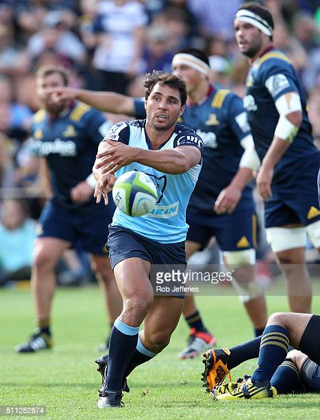 Nick Phipps of the Waratahs passes the ball during the Super Rugby trial match between the Highlanders and the Waratahs at the Queenstown Recreation...