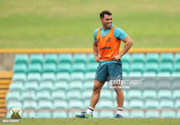 Nick Phipps smiles during the Australian Wallabies training session at Leichhardt Oval on October 26 2017 in Sydney Australia