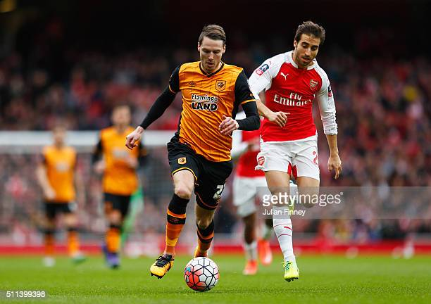 Nick Powell of Hull City and Mathieu Flamini of Arsenal compete for the ball during the Emirates FA Cup fifth round match between Arsenal and Hull...