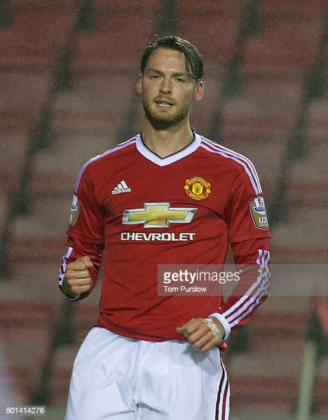 Nick Powell of Manchester United U21s celebrates scoring their first goal during the Barclays U21 Premier League match between Manchester United U21s...