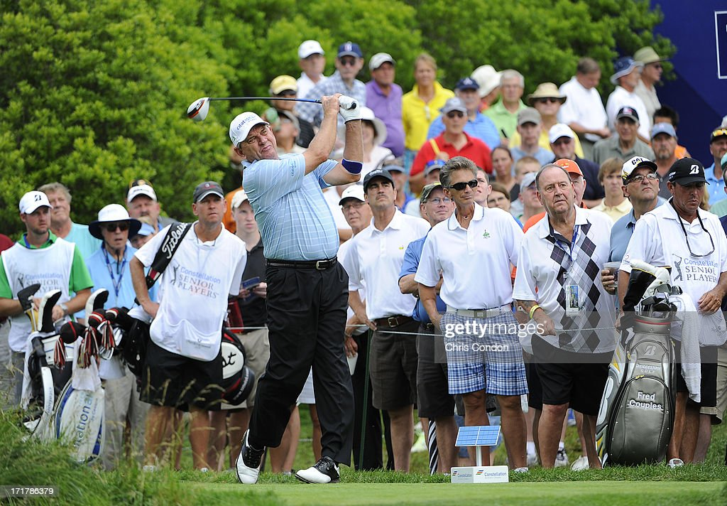 <a gi-track='captionPersonalityLinkClicked' href=/galleries/search?phrase=Nick+Price&family=editorial&specificpeople=206259 ng-click='$event.stopPropagation()'>Nick Price</a> of Zimbabwe plays from the 18th tee during the second round of the Constellation SENIOR PLAYERS Championship at Fox Chapel Golf Club on June 28, 2013 in Pittsburgh, Pennsylvania.