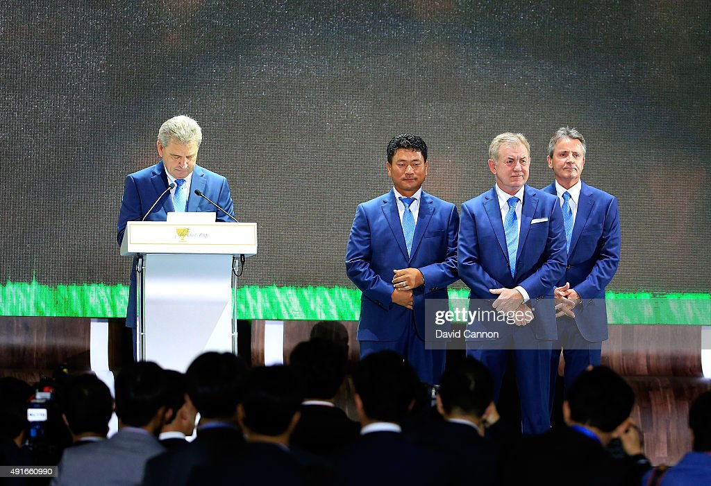Nick Price of Zimbabwe the International team captain introduces his vice-captain K.J.Choi (centre left) of South Korea and assistant captains Tony Johnstone (centre right) and Mark McNulty (r) of Zimbabwe looks on during the opening ceremony of the 2015 Presidents Cup at the Convensia Ceremony Hall on October 7, 2015 in Incheon City, South Korea.
