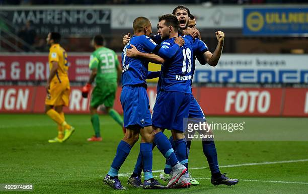 Nick Proschwitz of Paderborn celebrates after scoring his teams second goal during the Second Bundesliga match between SC Paderborn and Eintracht...