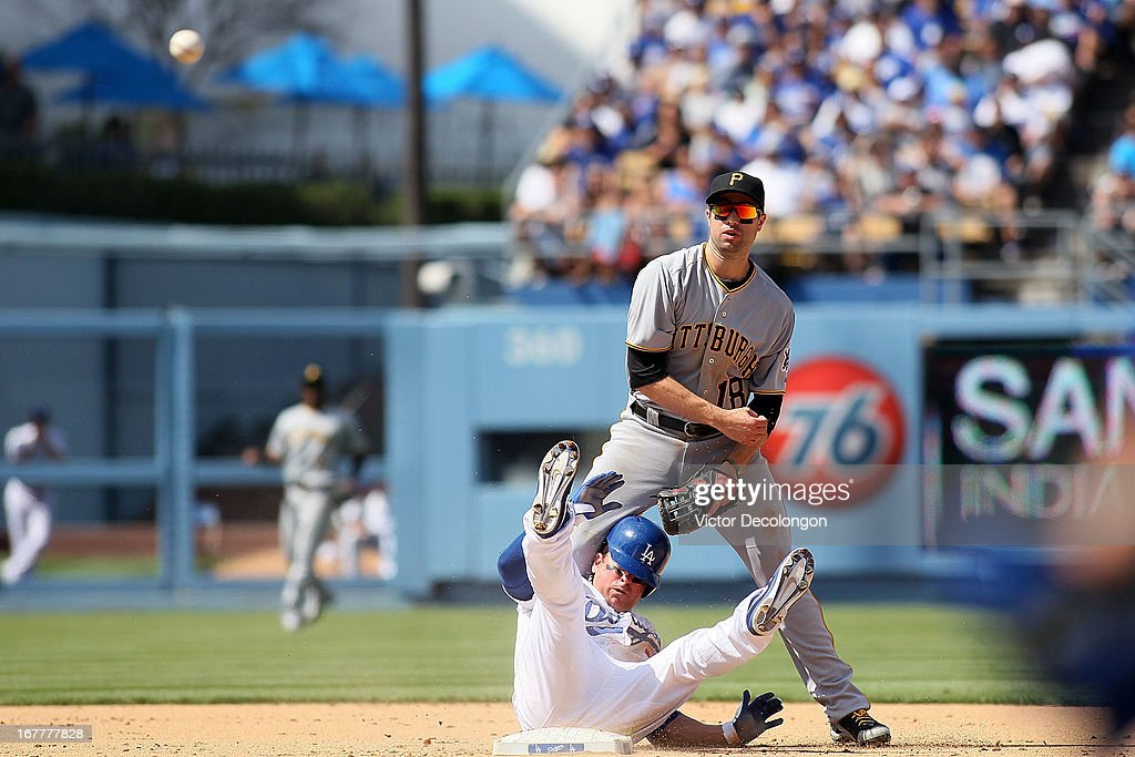 <a gi-track='captionPersonalityLinkClicked' href=/galleries/search?phrase=Nick+Punto&family=editorial&specificpeople=547246 ng-click='$event.stopPropagation()'>Nick Punto</a> #7 of the Los Angeles Dodgers falls over backwards into second base after the throw to first by Neil Walker #18 of the Pittsburgh Pirates for the double play hit to second base by Matt Kemp #27 of the Los Angeles Dodgers (not in photo) during the MLB game at Dodger Stadium on April 7, 2013 in Los Angeles, California. The Dodgers defeated the Pirates 6-2.