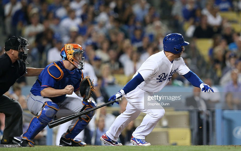<a gi-track='captionPersonalityLinkClicked' href=/galleries/search?phrase=Nick+Punto&family=editorial&specificpeople=547246 ng-click='$event.stopPropagation()'>Nick Punto</a> #7 of the Los Angeles Dodgers hits a two run double to left field in the fifth inning against the New York Mets at Dodger Stadium on August 13, 2013 in Los Angeles, California.