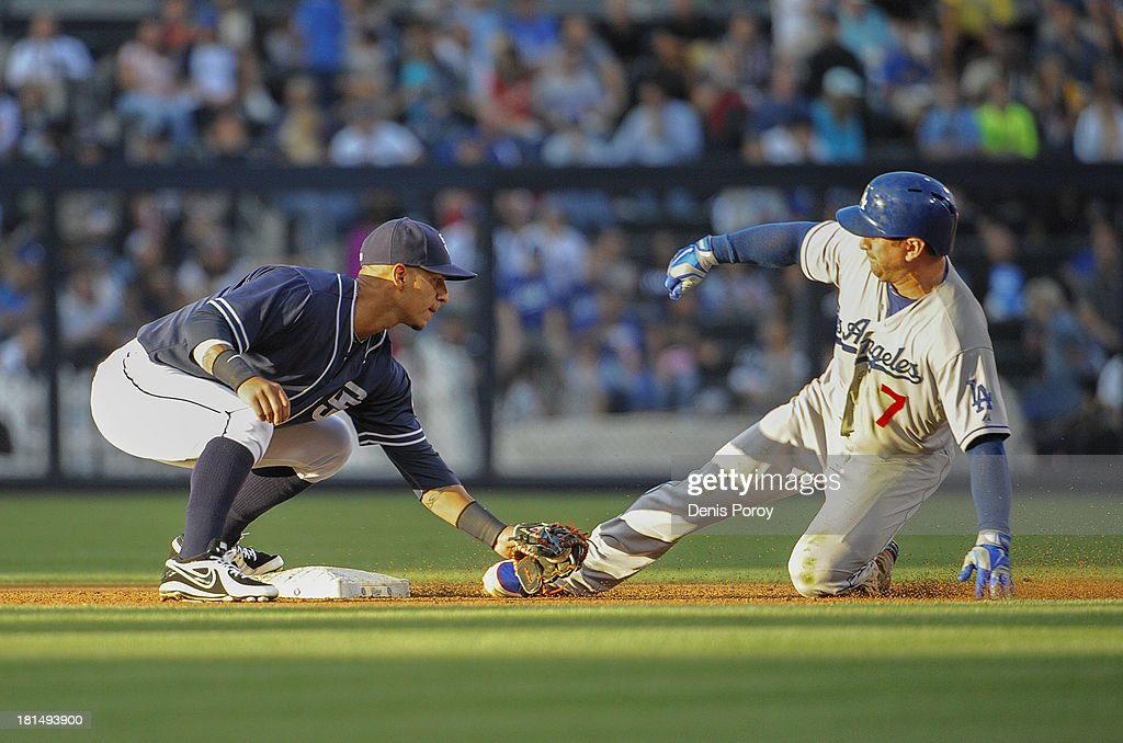 Nick Punto of the Los Angeles Dodgers is tagged out by Ronny Cedeno of the San Diego Padres as he tries to steal second base during second inning of...