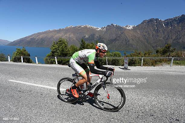 Nick Reddish of Hamilton out front of the breakaway group as they head towards Queenstown in stage four of the Tour of Southland on November 5 2015...