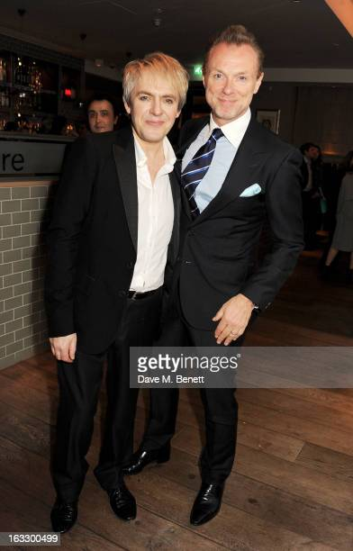 Nick Rhodes and Gary Kemp attend an after party celebrating Duran Duran keyboardist Nick Rhodes' exhibition 'BEI INCUBI Beautiful Nightmares' at...