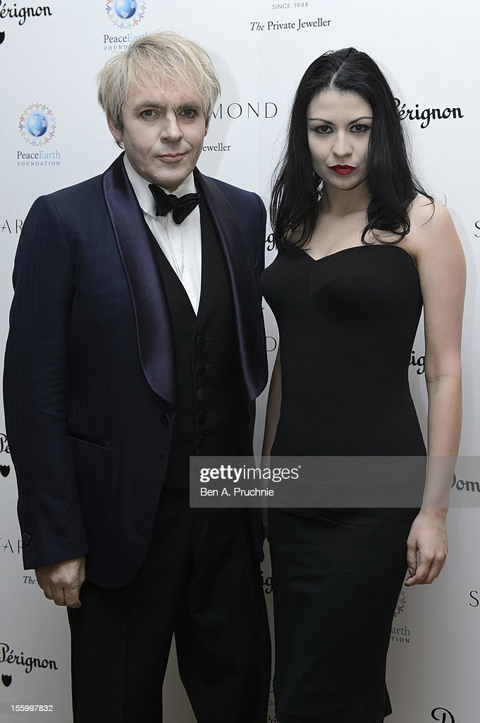 <a gi-track='captionPersonalityLinkClicked' href=/galleries/search?phrase=Nick+Rhodes&family=editorial&specificpeople=206732 ng-click='$event.stopPropagation()'>Nick Rhodes</a> and Guest attend the PeaceEarth foundation fundraising gala at Banqueting House on November 10, 2012 in London, England.