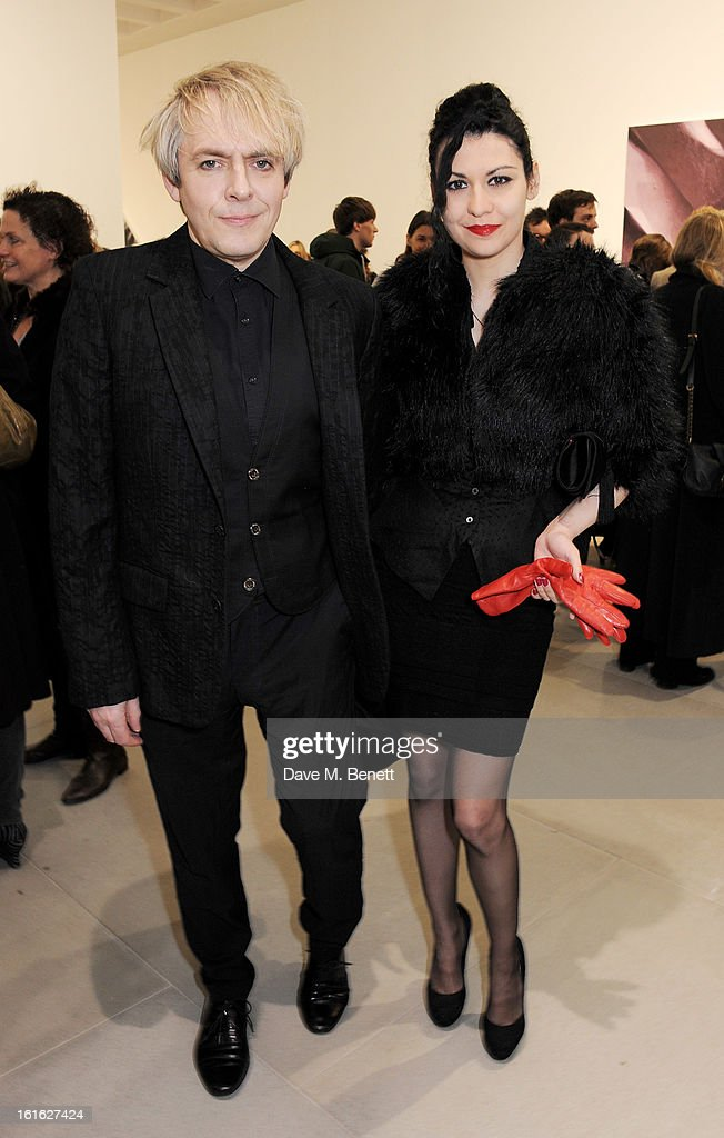<a gi-track='captionPersonalityLinkClicked' href=/galleries/search?phrase=Nick+Rhodes&family=editorial&specificpeople=206732 ng-click='$event.stopPropagation()'>Nick Rhodes</a> (L) and Nefer attend a private view of 'Mat Collishaw: This Is Not An Exit' at Blaine/Southern Gallery on February 13, 2013 in London, England.