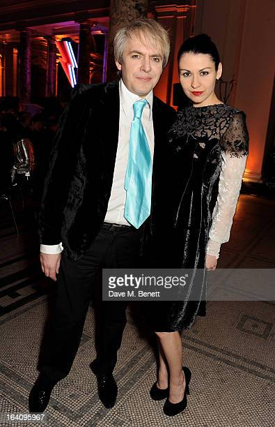 Nick Rhodes and Nefer Suvio attend the dinner to celebrate The David Bowie Is exhibition in partnership with Gucci and Sennheiser at the Victoria and...