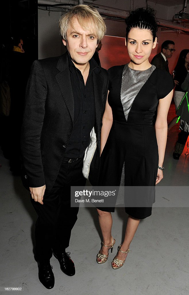 <a gi-track='captionPersonalityLinkClicked' href=/galleries/search?phrase=Nick+Rhodes&family=editorial&specificpeople=206732 ng-click='$event.stopPropagation()'>Nick Rhodes</a> (L) and Nefer Suvio attend the launch of artist Dinos Chapman's first album 'Luftbobler' at The Vinyl Factory on February 27, 2013 in London, England.