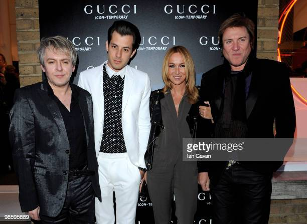 Nick Rhodes Mark Ronson Frida Giannini and Simon Le Bon attend the Gucci Icon Temporary store opening on April 21 2010 in London England