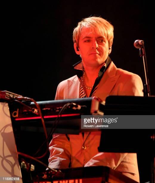 Nick Rhodes of Duran Duran during Duran Duran Live in Concert April 25 2004 at NEC Arena in Birmingham England Great Britain