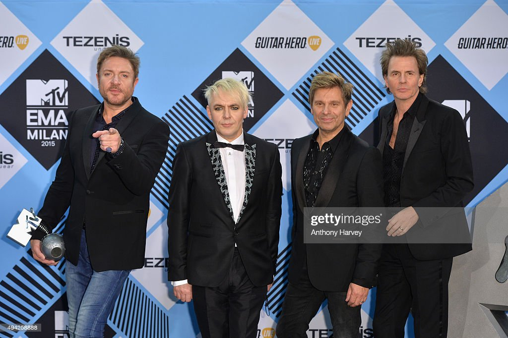 Nick Rhodes Simon Le Bon John Taylor and Roger Taylor of Duran Duran poses in the Winners Room after winning the Video Visionary Award at the MTV...