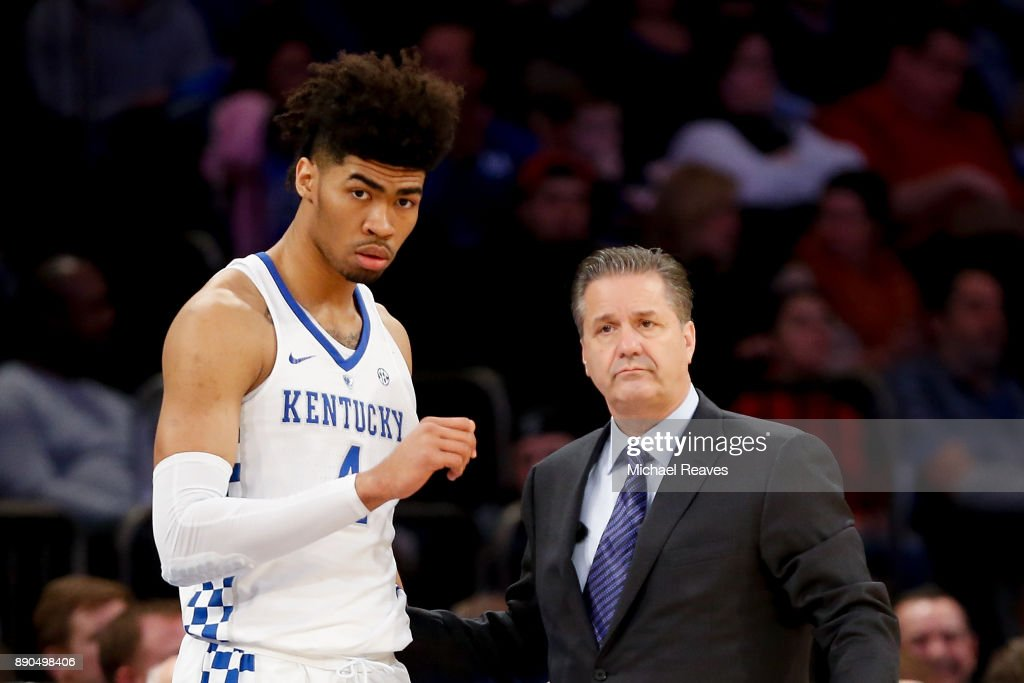 Nick Richards #4 of the Kentucky Wildcats talks with head coach John Calipari against the Monmouth Hawks during the Citi Hoops Classic at Madison Square Garden on December 9, 2017 in New York City.