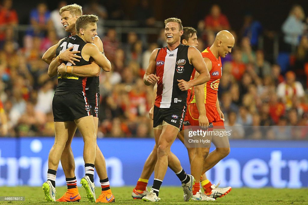 Nick Riewoldt and Jack Lonie of the Saints celebrate a goal during the round two AFL match between the Gold Coast Suns and the St Kilda Saints at Metricon Stadium on April 11, 2015 in Gold Coast, Australia.