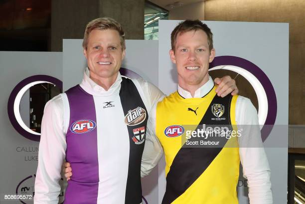 Nick Riewoldt and Jack Riewoldt pose during the 'Art of Football' exhibition on July 5 2017 in Melbourne Australia