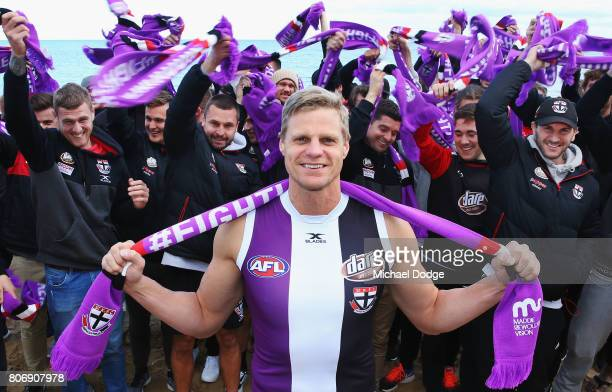 Nick Riewoldt and teammates pose for the Maddie's Match St Kilda V Richmond during a St Kilda Saints AFL media opportunity at the St Kilda Surf...