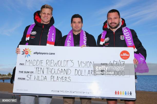 Nick Riewoldt Leigh Montagna and Jarryn Geary pose for the Maddie's Match St Kilda V Richmond during a St Kilda Saints AFL media opportunity at the...