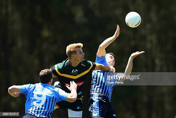 Nick Riewoldt of Australia in action during the International Rules practice match between Australia and the NSW Gaelic Football team Tom Wills Oval...