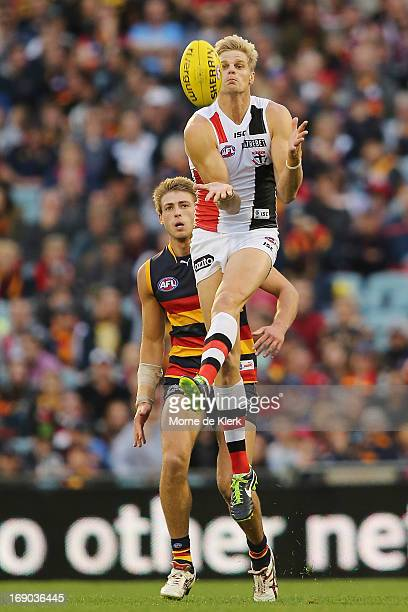 Nick Riewoldt of St Kilda takes a mark during the round eight AFL match between the Adelaide Crows and the St Kilda Saints at AAMI Stadium on May 19...