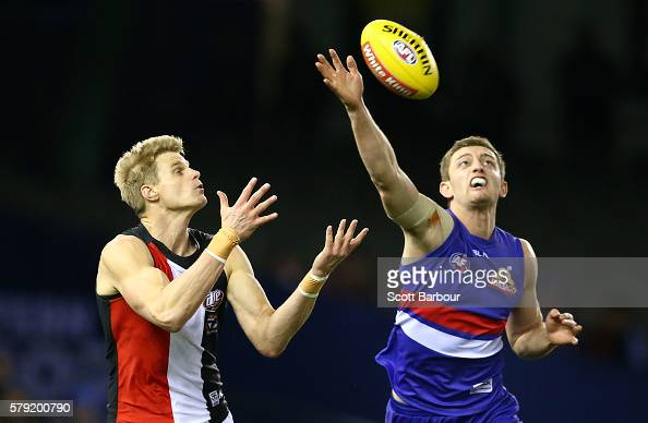 Nick Riewoldt of the Saints and Fletcher Roberts of the Bulldogs compete for the ball during the round 18 AFL match between the Western Bulldogs and...