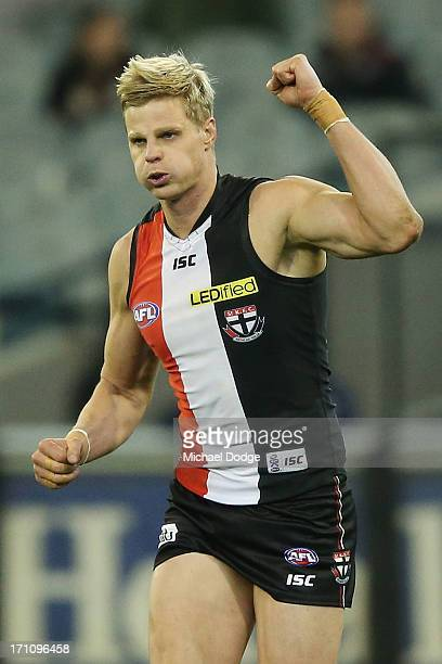Nick Riewoldt of the Saints celebrates a goal during the round 13 AFL match between the St Kilda Saints and the Melbourne Demons at Melbourne Cricket...