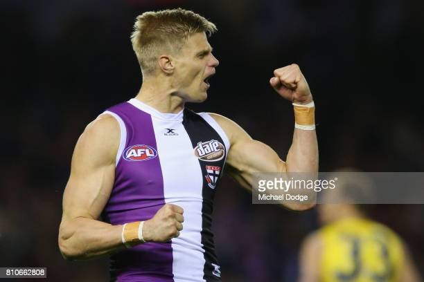 Nick Riewoldt of the Saints celebrates a goal during the round 16 AFL match between the St Kilda Saints and the Richmond Tigers at Etihad Stadium on...