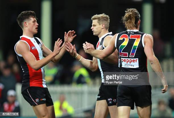Nick Riewoldt of the Saints celebrates a goal during the round 18 AFL match between the Sydney Swans and the St Kilda Saints at Sydney Cricket Ground...