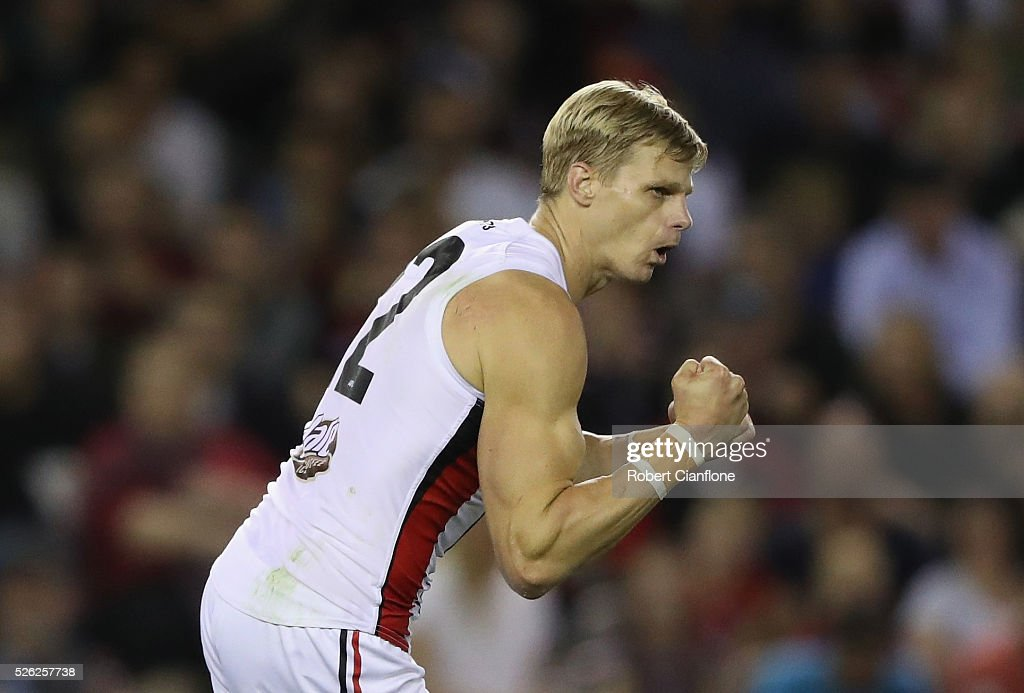 Nick Riewoldt of the Saints celebrates a goal during the round six AFL match between the Melbourne Demons and the St Kilda Saints at Etihad Stadium on April 30, 2016 in Melbourne, Australia.