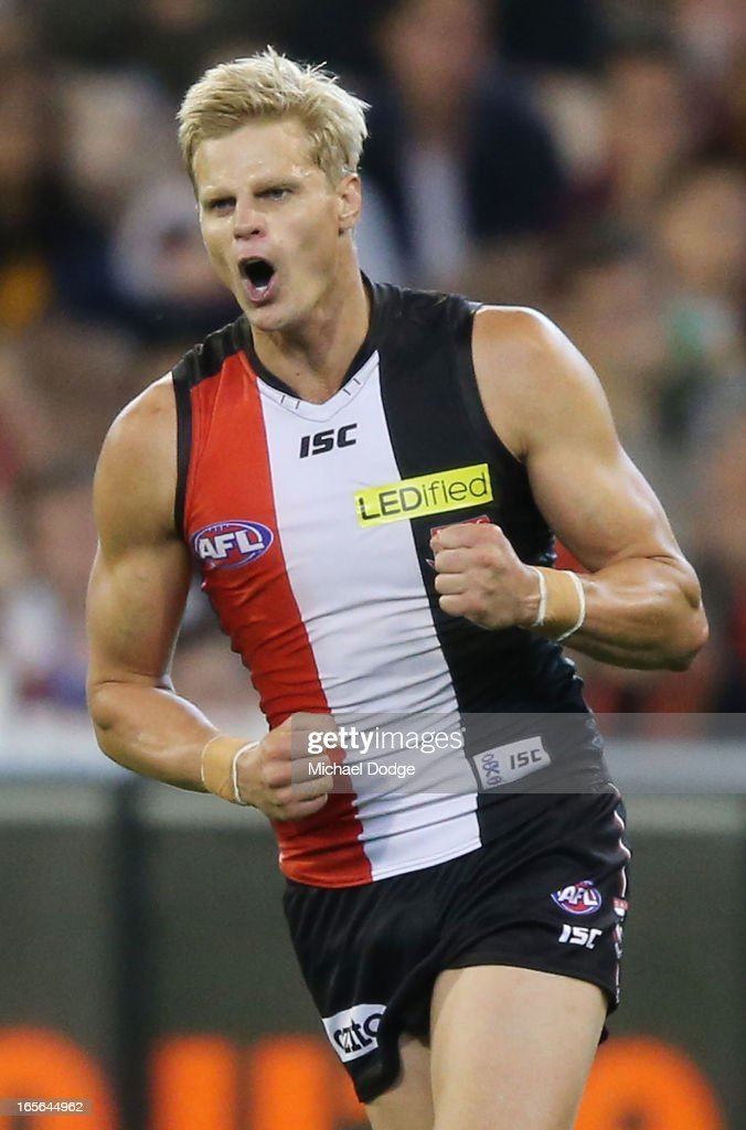 <a gi-track='captionPersonalityLinkClicked' href=/galleries/search?phrase=Nick+Riewoldt&family=editorial&specificpeople=176552 ng-click='$event.stopPropagation()'>Nick Riewoldt</a> of the Saints celebrates a goal during the round two AFL match between the St Kilda Saints and the Richmond Tigers at Melbourne Cricket Ground on April 5, 2013 in Melbourne, Australia.
