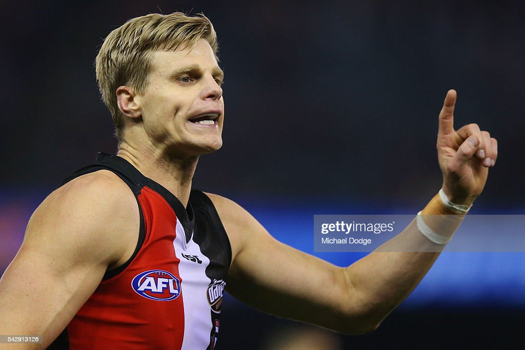 Nick Riewoldt of the Saints issues instructions during the round 14 AFL match between the St Kilda Saints and the Geelong Cats at Etihad Stadium on June 25, 2016 in Melbourne, Australia.