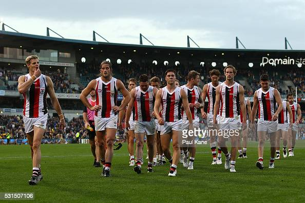 Nick Riewoldt of the Saints leads his team from the field after being defeated during the round eight AFL match between the West Coast Eagles and the...