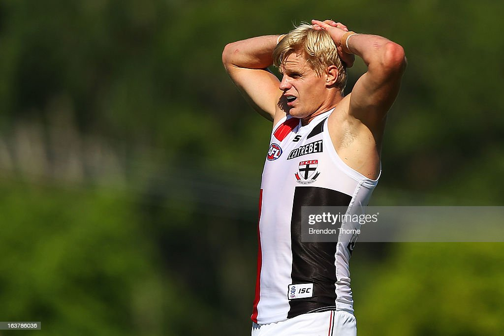 <a gi-track='captionPersonalityLinkClicked' href=/galleries/search?phrase=Nick+Riewoldt&family=editorial&specificpeople=176552 ng-click='$event.stopPropagation()'>Nick Riewoldt</a> of the Saints looks dejected after missing a goal during the AFL practice match between the Greater Western Sydney Giants and the St Kilda Saints at Blacktown International Sportspark on March 16, 2013 in Sydney, Australia.
