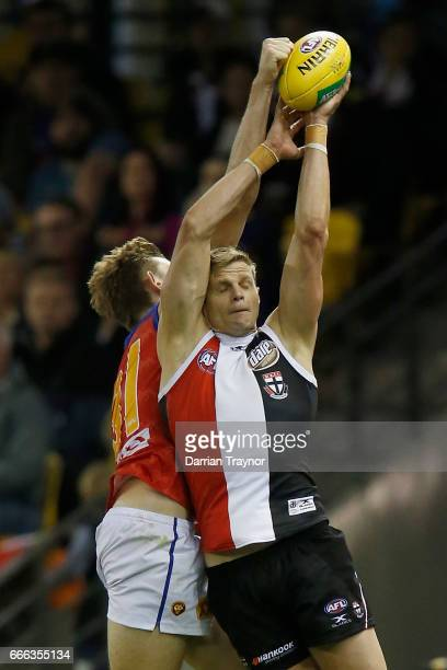 Nick Riewoldt of the Saints marks the ball during the round three AFL match between the St Kilda Saints and the Brisbane Lions at Etihad Stadium on...