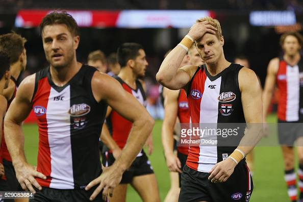 Nick Riewoldt of the Saints reacts after a nail biting defeat during the round seven AFL match between the St Kilda Saints and the North Melbourne...