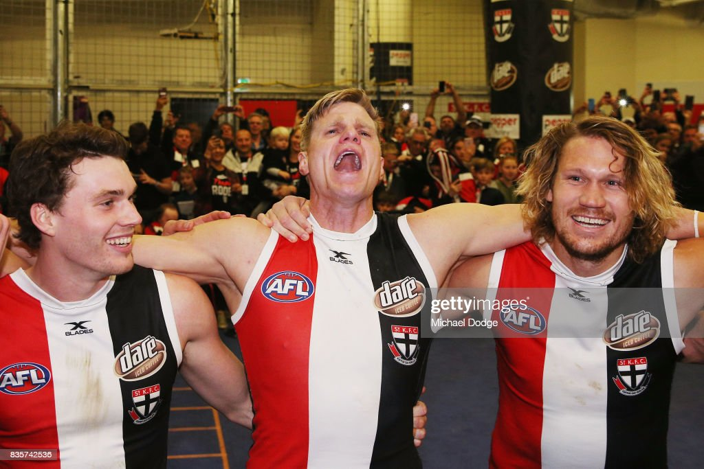 Nick Riewoldt of the Saints sing the club song after winning during the round 22 AFL match between the St Kilda Saints and the North Melbourne Kangaroos at Etihad Stadium on August 20, 2017 in Melbourne, Australia.