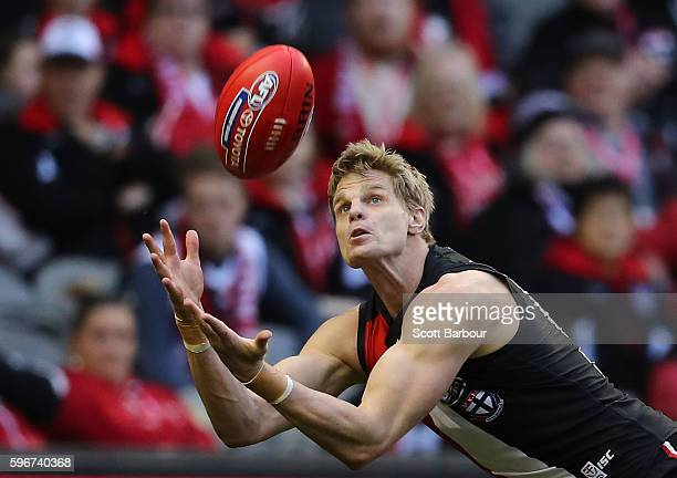 Nick Riewoldt of the Saints takes a mark during the round 23 AFL match between the St Kilda Saints and the Brisbane Lions at Etihad Stadium on August...