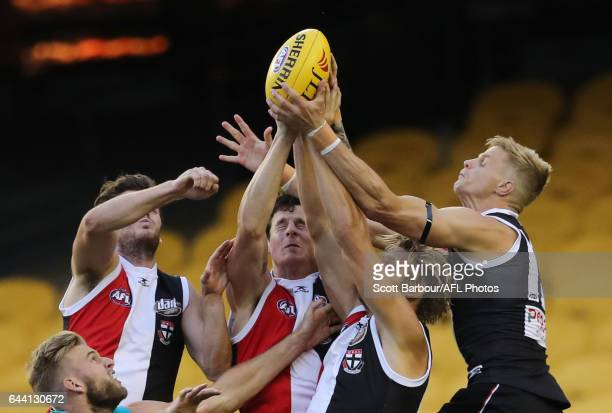 Nick Riewoldt of the Saints takes a mark in front of Jake Carlisle of the Saints during the AFL 2017 JLT Community Series match between the St Kilda...