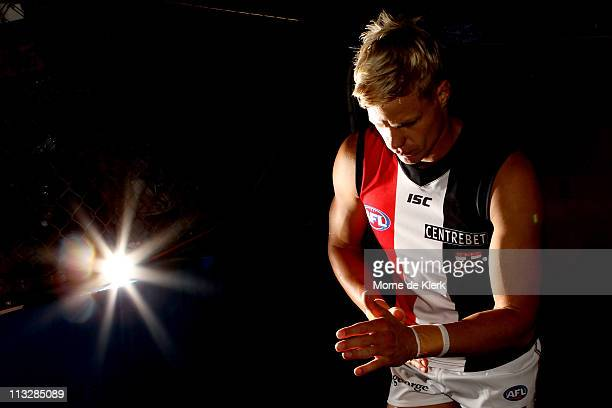 Nick Riewoldt of the Saints takes to the field before the round six AFL match between the Adelaide Crows and the St Kilda Saints at AAMI Stadium on...