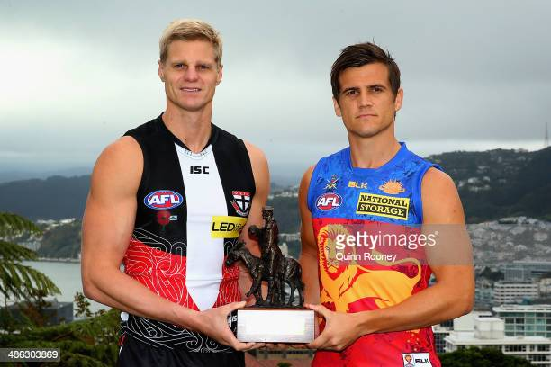 Nick Riewoldt the captain of the Saints and Jed Adcock the captain of the Lions pose during a joint St Kilda Saints and Brisbane Lions Media Sessions...