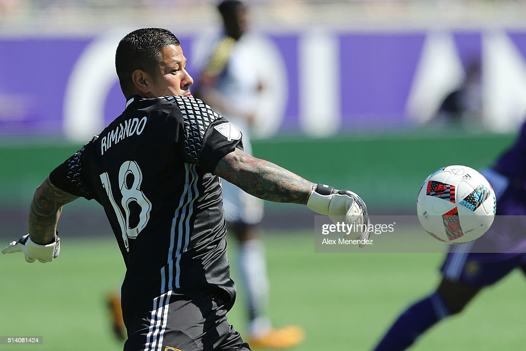 Nick Rimando #18 of Real Salt Lake kicks the ball during a MLS soccer match between Real Salt Lake and the Orlando City SC at the Orlando Citrus Bowl on March 6, 2016 in Orlando, Florida. The game ended in a 2-2 draw.
