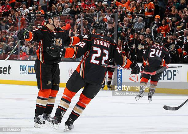 Nick Ritchie and Shawn Horcoff of the Anaheim Ducks celebrate Ritchie's first NHL goal in the third period of the game against the New Jersey Devils...