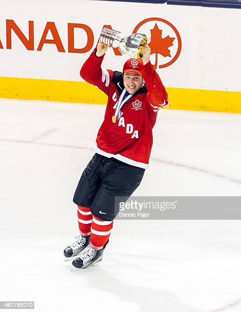 Nick Ritchie of Canada celebrates with the trophy after a 54 win against Russia during the Gold medal game of the 2015 IIHF World Junior Championship...