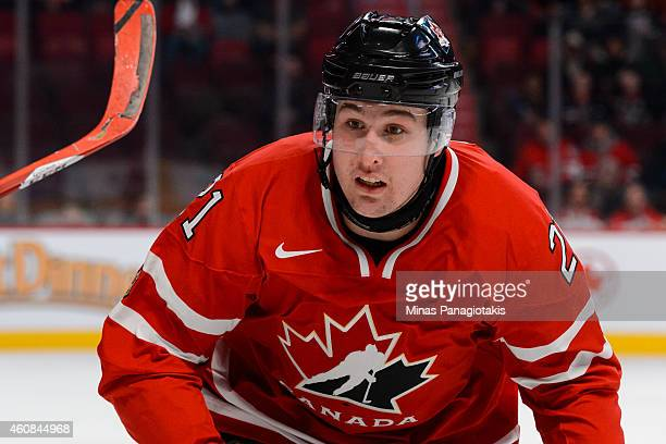 Nick Ritchie of Team Canada skates towards the play during the 2015 IIHF World Junior Hockey Championship exhibition game against Team Switzerland at...